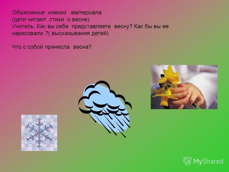 Объяснение нового материала (дети читают стихи о весне) Учитель. Как вы себе представляете весну? Как бы вы ее нарисовали ?( высказывания детей) Что с собой принесла весна?