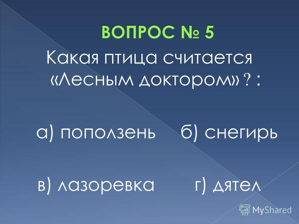 Какая птица считается «Лесным доктором» ? : а) поползень б) снегирь в) лазоревка г) дятел