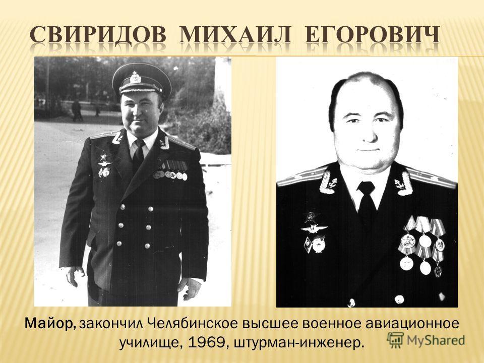 Майор, закончил Челябинское высшее военное авиационное училище, 1969, штурман-инженер.