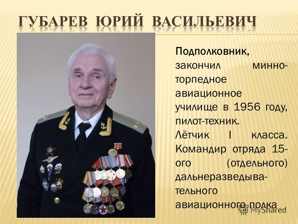 Подполковник, закончил минно- торпедное авиационное училище в 1956 году, пилот-техник. Лётчик I класса. Командир отряда 15- ого (отдельного) дальнеразведыва- тельного авиационного полка