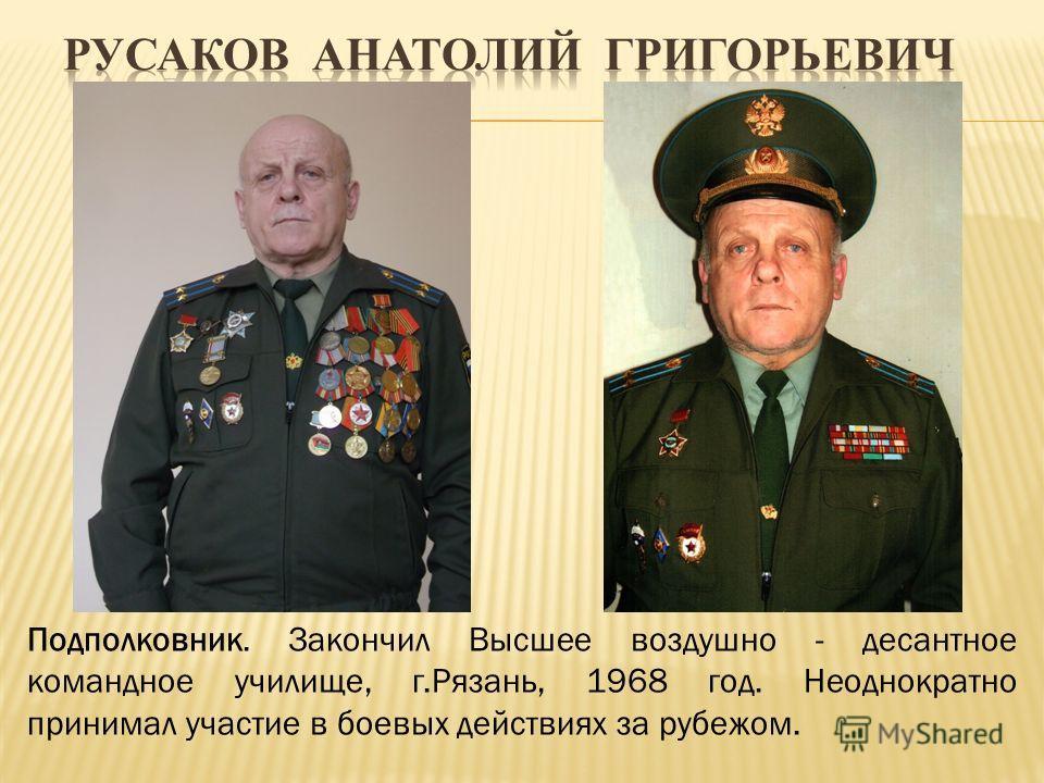 Подполковник. Закончил Высшее воздушно - десантное командное училище, г.Рязань, 1968 год. Неоднократно принимал участие в боевых действиях за рубежом.