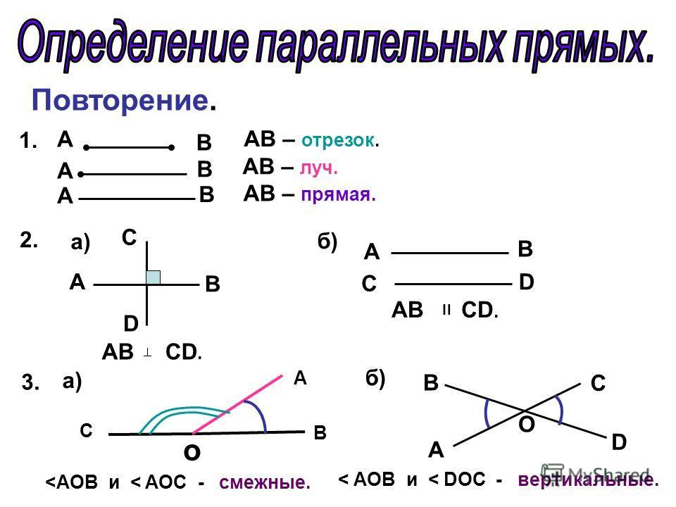 Повторение. А А А В В В АВ – отрезок. АВ – луч. АВ – прямая. 1. 2. C А B D а) АВ СD. б) А D B C АВ СD. = 3.3. а) o B A C
