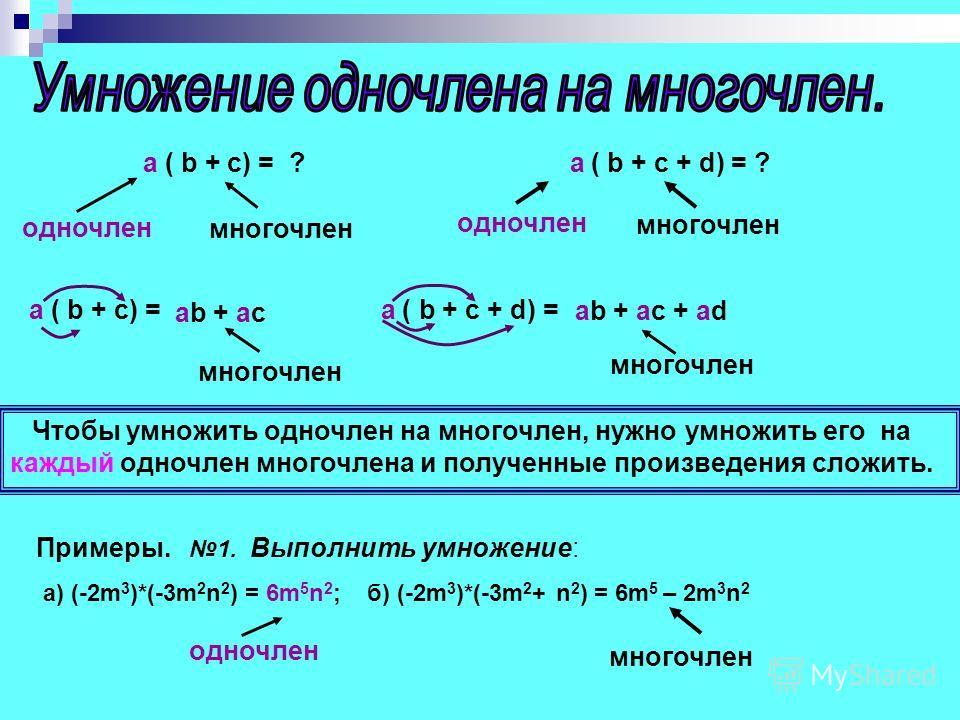 a ( b + c) = ? a ( b + c + d) = ? одночлен многочлен a ( b + c) = a ( b + c + d) = ab + ac ab + ac + ad Чтобы умножить одночлен на многочлен, нужно умножить его на каждый одночлен многочлена и полученные произведения сложить. многочлен Примеры. 1. Вы