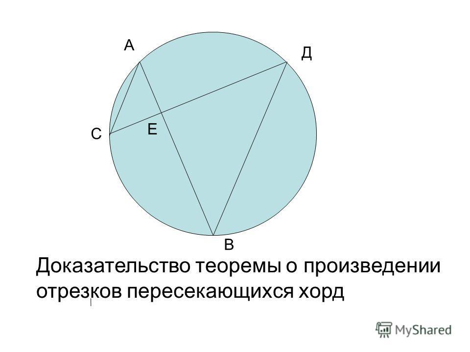 С Д Доказательство теоремы о произведении отрезков пересекающихся хорд А В E