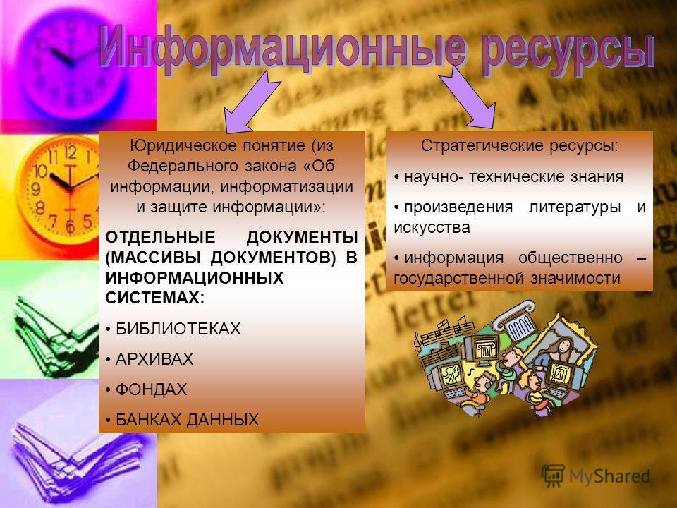 Юридическое понятие (из Федерального закона «Об информации, информатизации и защите информации»: ОТДЕЛЬНЫЕ ДОКУМЕНТЫ (МАССИВЫ ДОКУМЕНТОВ) В ИНФОРМАЦИОННЫХ СИСТЕМАХ: БИБЛИОТЕКАХ АРХИВАХ ФОНДАХ БАНКАХ ДАННЫХ Стратегические ресурсы: научно- технические