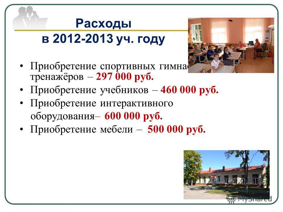 Расходы в 2012-2013 уч. году Приобретение спортивных гимнастических тренажёров – 297 000 руб. Приобретение учебников – 460 000 руб. Приобретение интерактивного оборудования– 600 000 руб. Приобретение мебели – 500 000 руб.