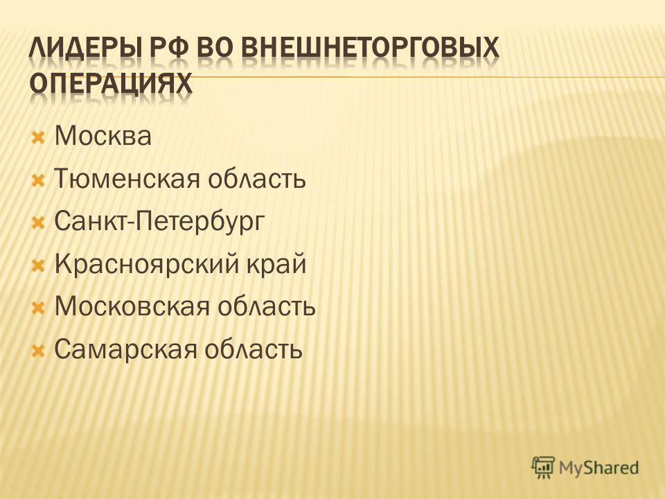 Москва Тюменская область Санкт-Петербург Красноярский край Московская область Самарская область