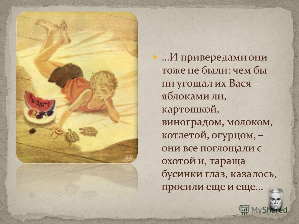 …И привередами они тоже не были: чем бы ни угощал их Вася – яблоками ли, картошкой, виноградом, молоком, котлетой, огурцом, – они все поглощали с охотой и, тараща бусинки глаз, казалось, просили еще и еще…