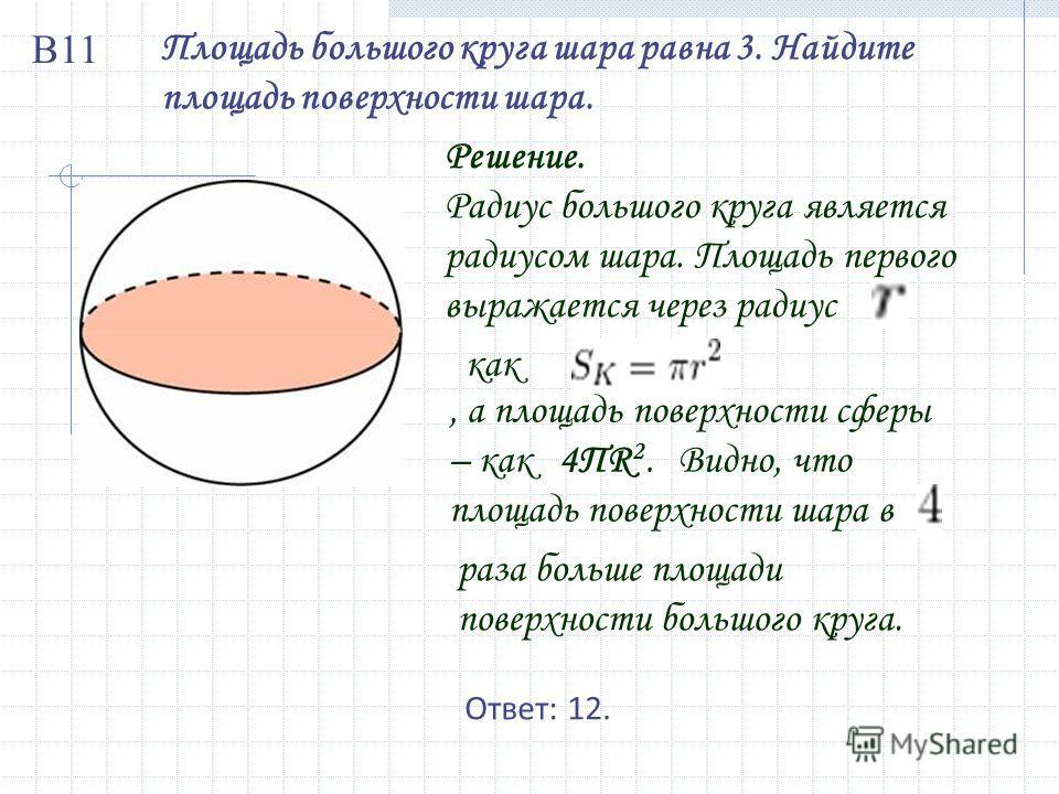 Площадь большого круга шара равна 3. Найдите площадь поверхности шара. Решение. Радиус большого круга является радиусом шара. Площадь первого выражается через радиус как, а площадь поверхности сферы – как 4ПR 2. Видно, что площадь поверхности шара в