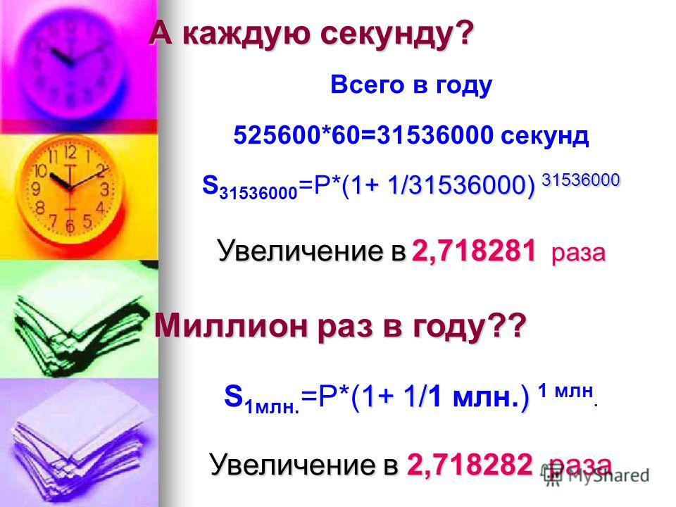 А каждую секунду? Всего в году 525600*60=31536000 секунд 1+ 1/31536000) 31536000 S 31536000 =P*(1+ 1/31536000) 31536000 Увеличение в 2,718281 раза Миллион раз в году?? 1+ 1/) S 1млн. =P*(1+ 1/1 млн.) 1 млн. Увеличение в 2,718282раза Увеличение в 2,71
