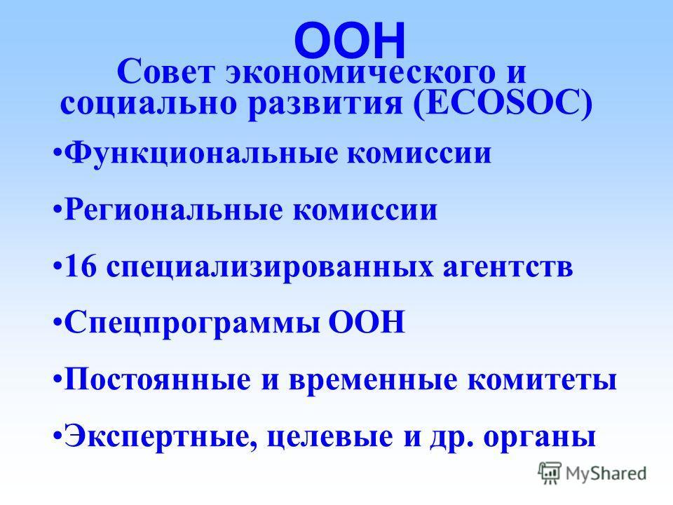 ООН Совет экономического и социально развития (ECOSOC) Форум по международным, экономическим и социальным вопросам Изучение и доклад Развитие прав человека и свобод Консультация с НПО Консультация с другими агенствами