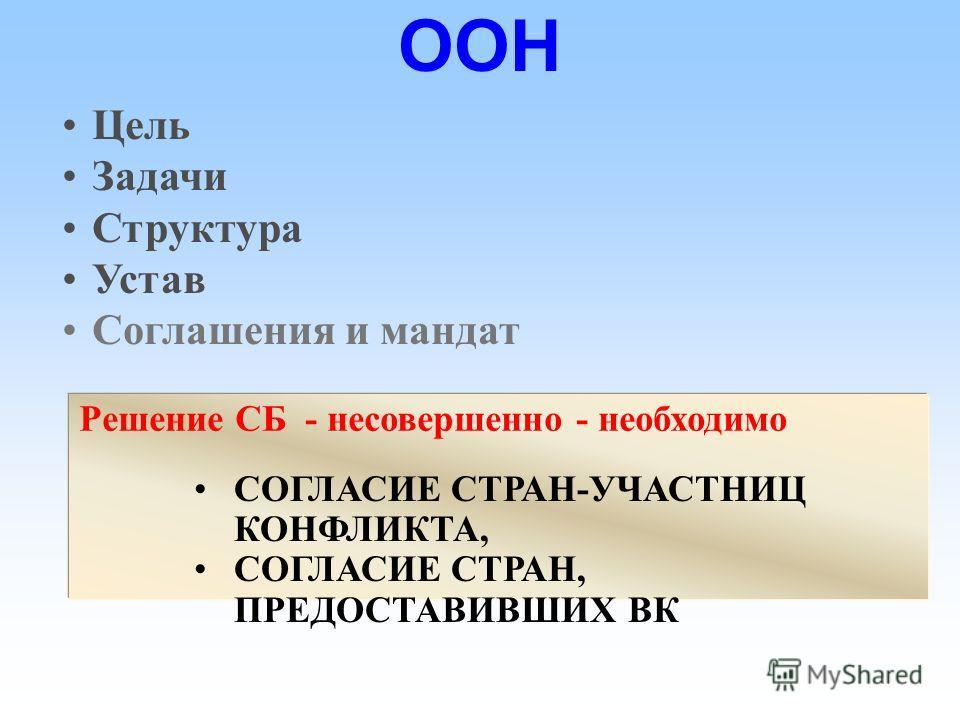 Цель Задачи Структура Устав Соглашения и мандат Миссия - Мандат Обоснование – резолюция СБ Четкость мандата = выше успех ОПМ Миссия - Мандат Обоснование – резолюция СБ Четкость мандата = выше успех ОПМ ООН