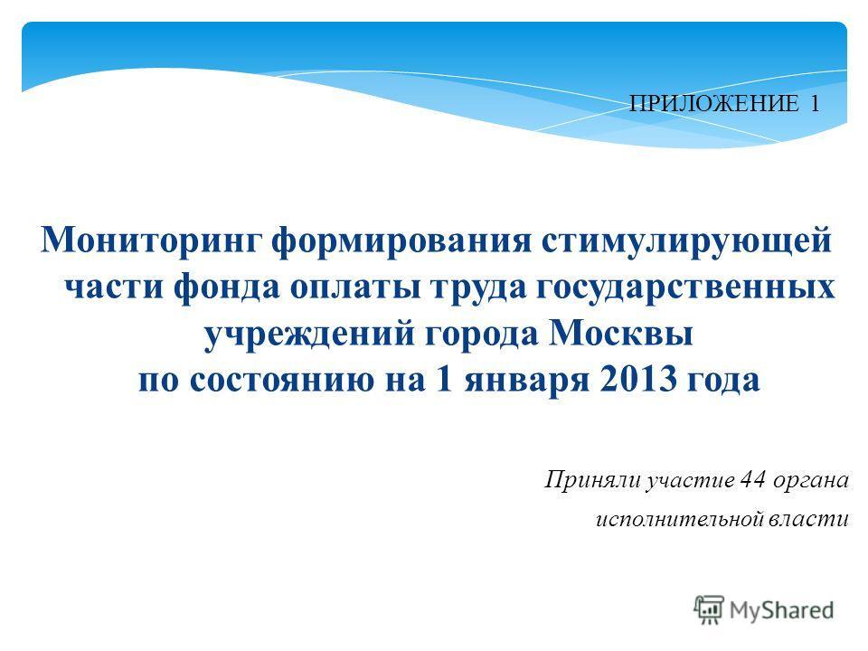 Мониторинг формирования стимулирующей части фонда оплаты труда государственных учреждений города Москвы по состоянию на 1 января 2013 года ПРИЛОЖЕНИЕ 1 Приняли участие 44 органа исполнительной власти