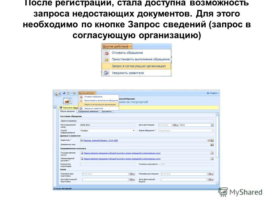 После регистрации, стала доступна возможность запроса недостающих документов. Для этого необходимо по кнопке Запрос сведений (запрос в согласующую организацию)