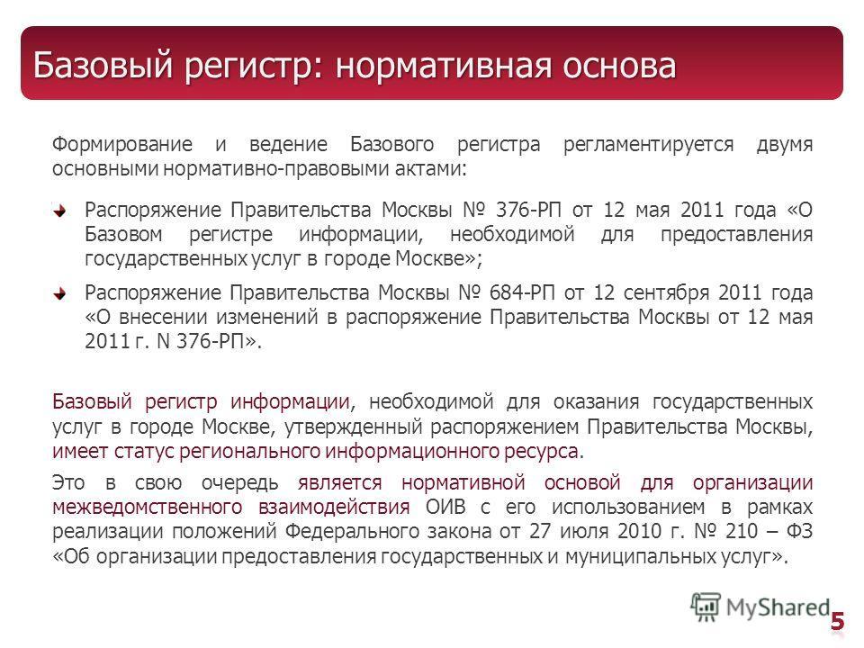Базовый регистр: нормативная основа Формирование и ведение Базового регистра регламентируется двумя основными нормативно-правовыми актами: Распоряжение Правительства Москвы 376-РП от 12 мая 2011 года «О Базовом регистре информации, необходимой для пр
