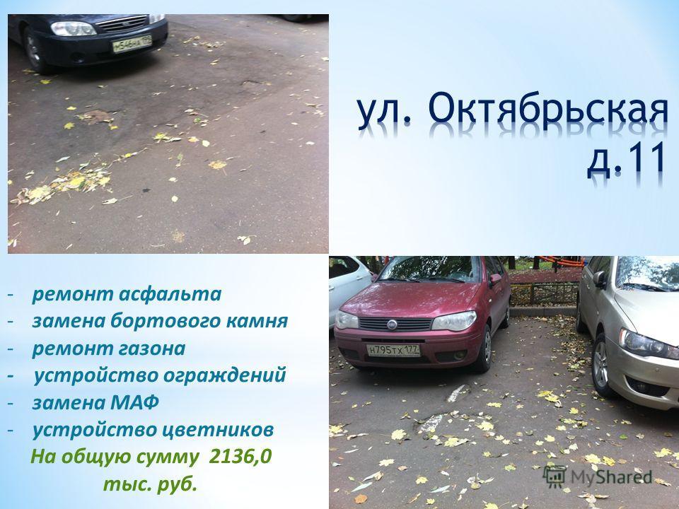 -ремонт асфальта -замена бортового камня -ремонт газона - устройство ограждений -замена МАФ -устройство цветников На общую сумму 2136,0 тыс. руб.