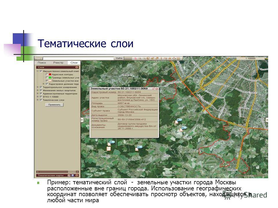 Тематические слои Пример: тематический слой - земельные участки города Москвы расположенные вне границ города. Использование географических координат позволяет обеспечивать просмотр объектов, находящихся в любой части мира