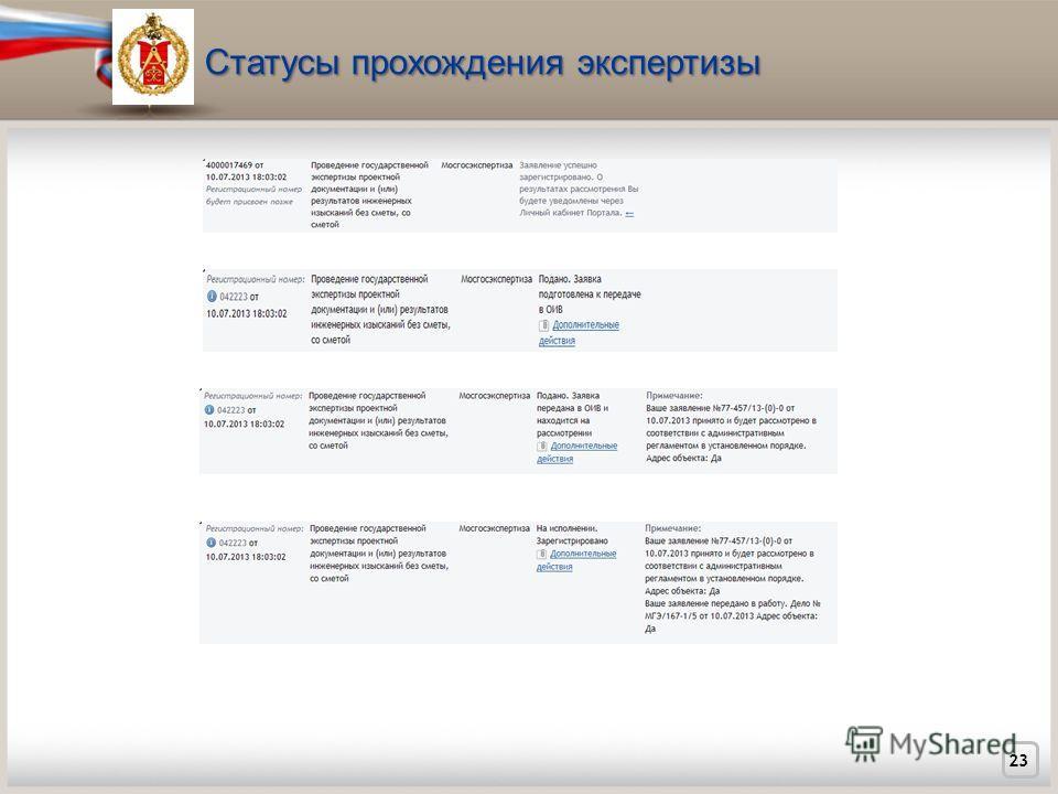 Статусы прохождения экспертизы 23
