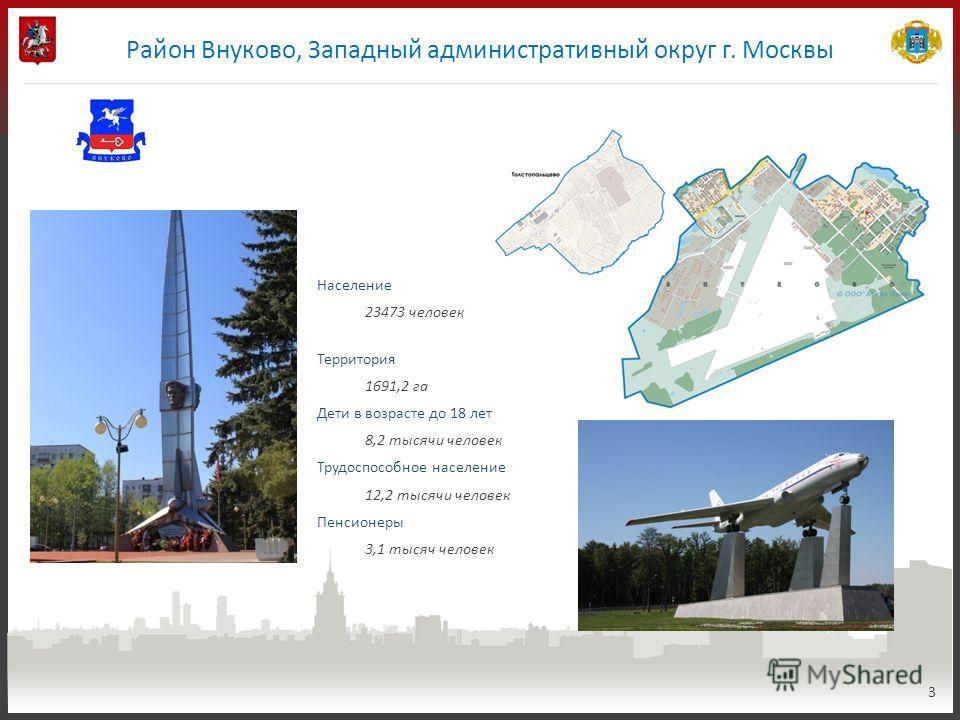 Район Внуково, Западный административный округ г. Москвы 3 Население 23473 человек Территория 1691,2 га Дети в возрасте до 18 лет 8,2 тысячи человек Трудоспособное население 12,2 тысячи человек Пенсионеры 3,1 тысяч человек
