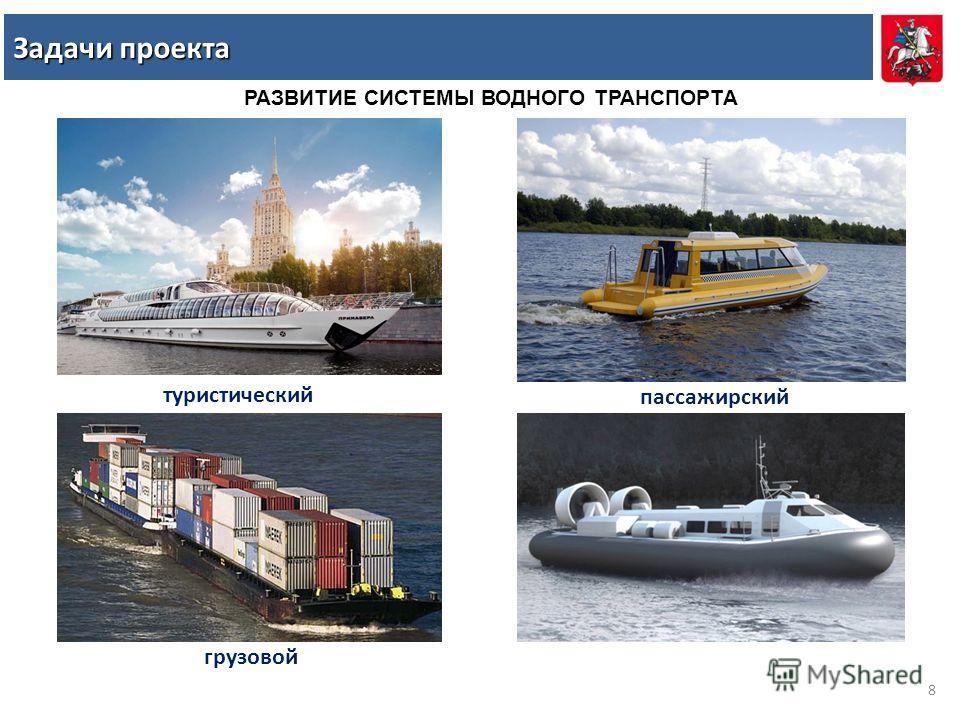 РАЗВИТИЕ СИСТЕМЫ ВОДНОГО ТРАНСПОРТА туристический пассажирский грузовой Задачи проекта 8