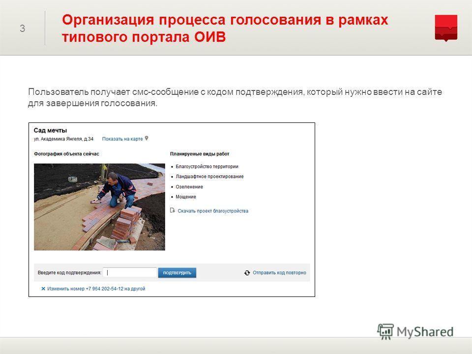 3 Организация процесса голосования в рамках типового портала ОИВ Пользователь получает смс-сообщение с кодом подтверждения, который нужно ввести на сайте для завершения голосования.