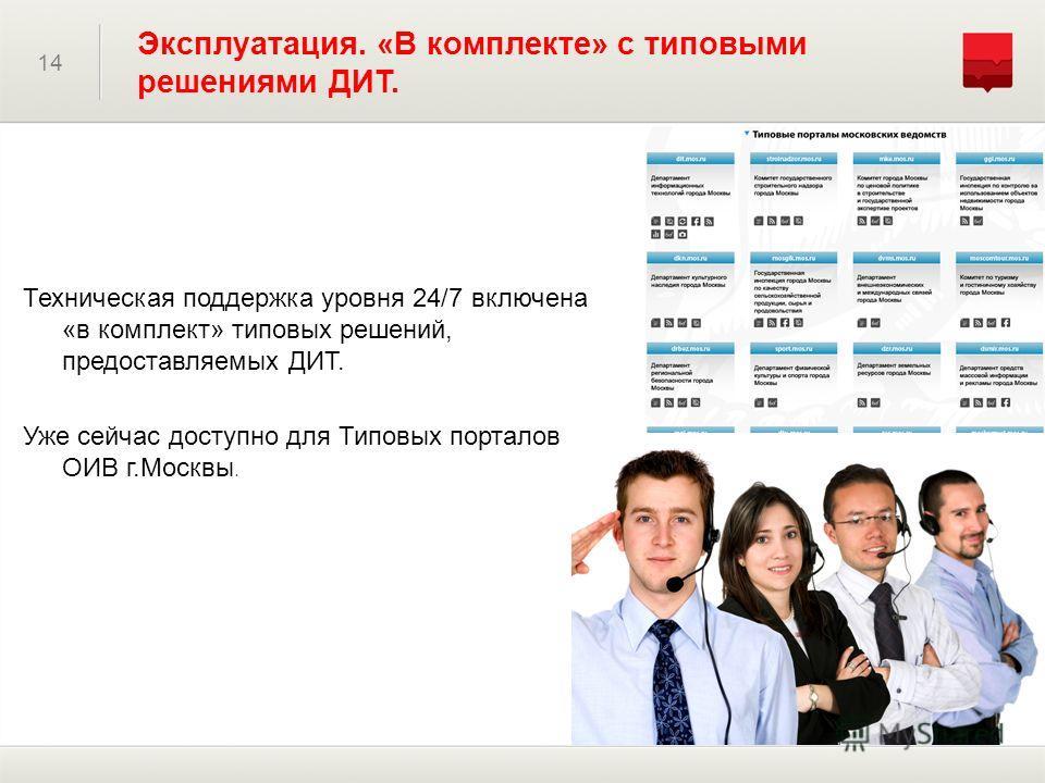 Техническая поддержка уровня 24/7 включена «в комплект» типовых решений, предоставляемых ДИТ. Уже сейчас доступно для Типовых порталов ОИВ г.Москвы. 14 Эксплуатация. «В комплекте» с типовыми решениями ДИТ.