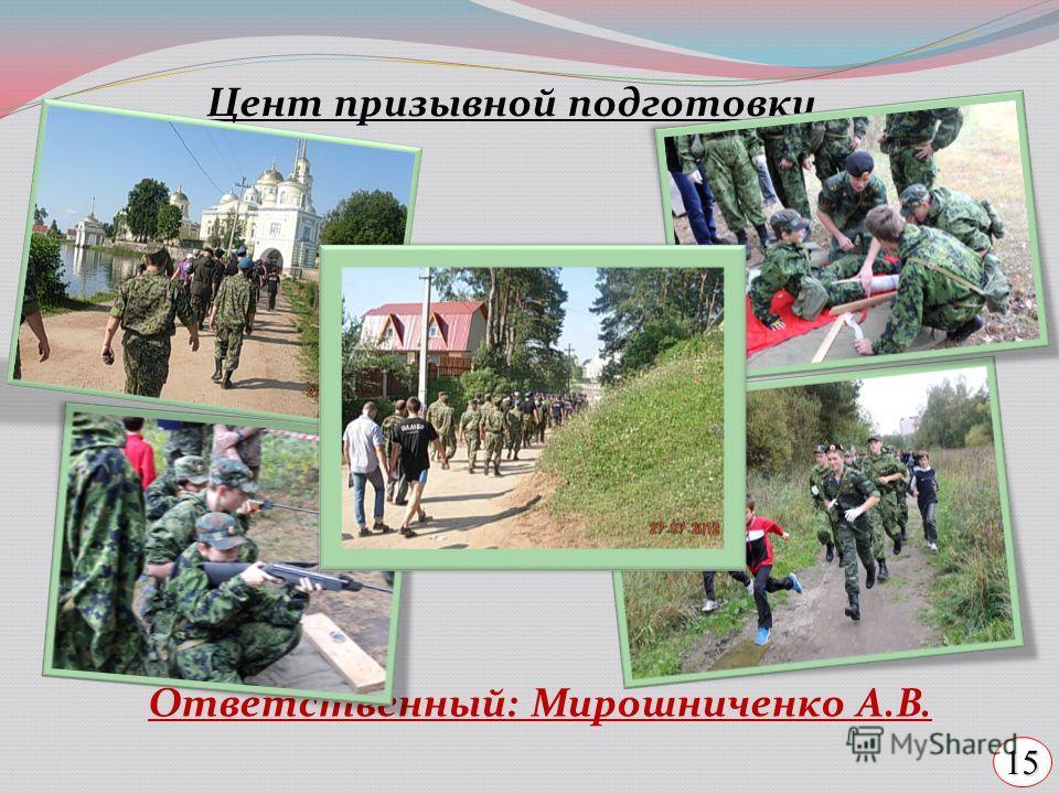 Цент призывной подготовки Ответственный: Мирошниченко А.В. 15