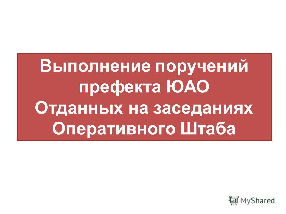 Выполнение поручений префекта ЮАО Отданных на заседаниях Оперативного Штаба