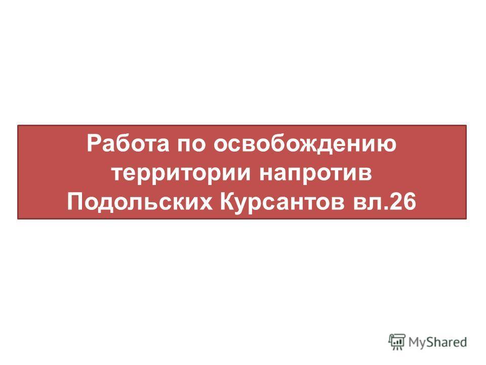 Работа по освобождению территории напротив Подольских Курсантов вл.26