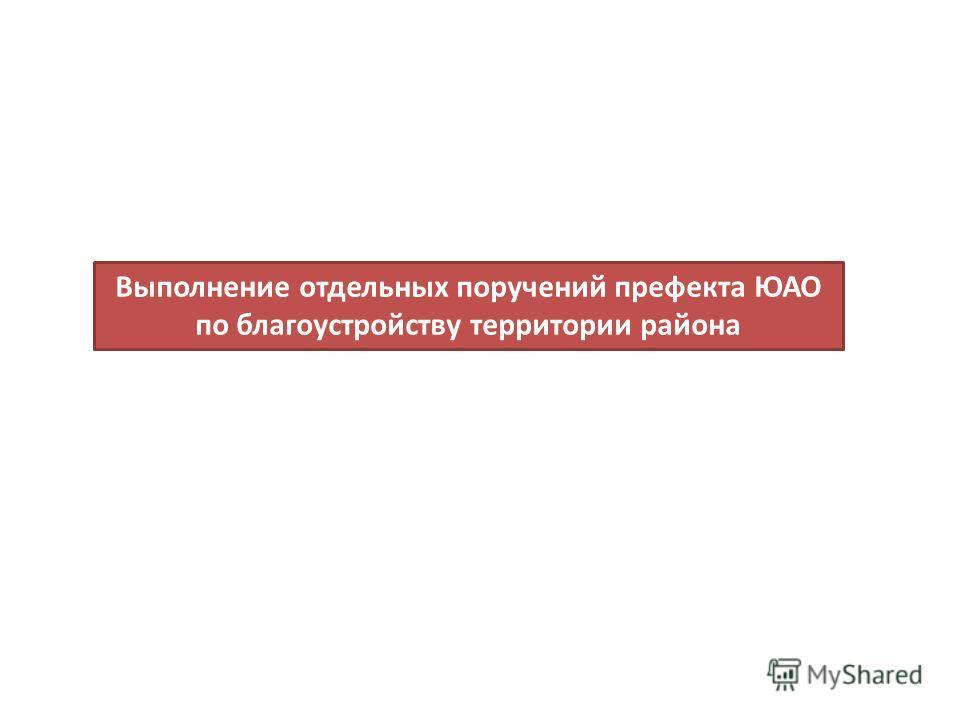 Выполнение отдельных поручений префекта ЮАО по благоустройству территории района