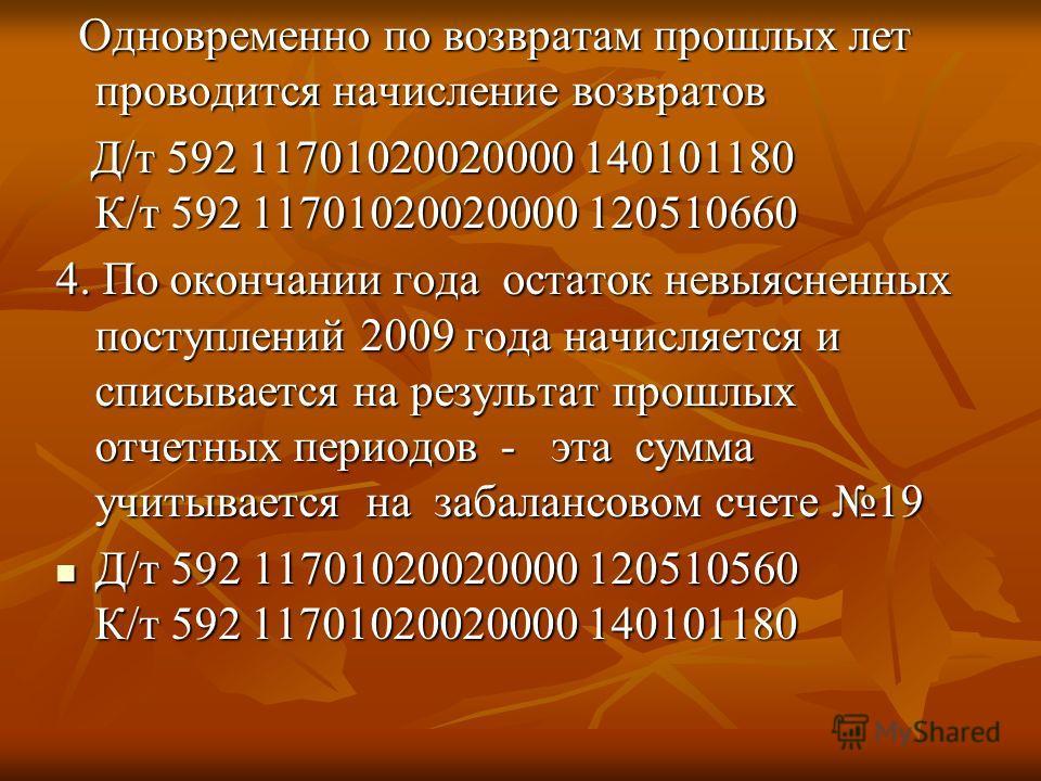 Одновременно по возвратам прошлых лет проводится начисление возвратов Одновременно по возвратам прошлых лет проводится начисление возвратов Д/т 592 11701020020000 140101180 К/т 592 11701020020000 120510660 Д/т 592 11701020020000 140101180 К/т 592 117