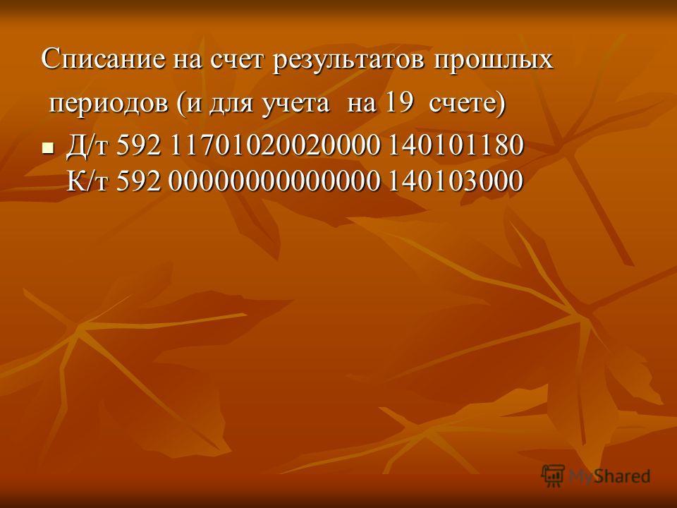 Списание на счет результатов прошлых периодов (и для учета на 19 счете) периодов (и для учета на 19 счете) Д/т 592 11701020020000 140101180 К/т 592 00000000000000 140103000 Д/т 592 11701020020000 140101180 К/т 592 00000000000000 140103000