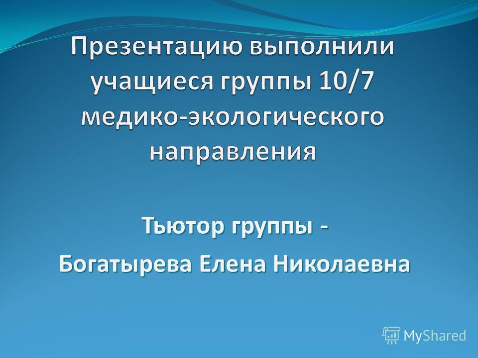 Тьютор группы - Богатырева Елена Николаевна