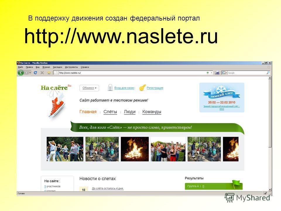 http://www.naslete.ru В поддержку движения создан федеральный портал