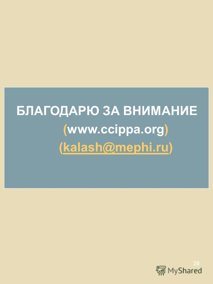 28 БЛАГОДАРЮ ЗА ВНИМАНИЕ (www.ccippa.org) (kalash@mephi.ru)kalash@mephi.ru