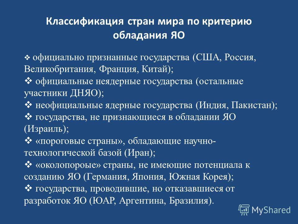 Классификация стран мира по критерию обладания ЯО официально признанные государства (США, Россия, Великобритания, Франция, Китай); официальные неядерные государства (остальные участники ДНЯО); неофициальные ядерные государства (Индия, Пакистан); госу