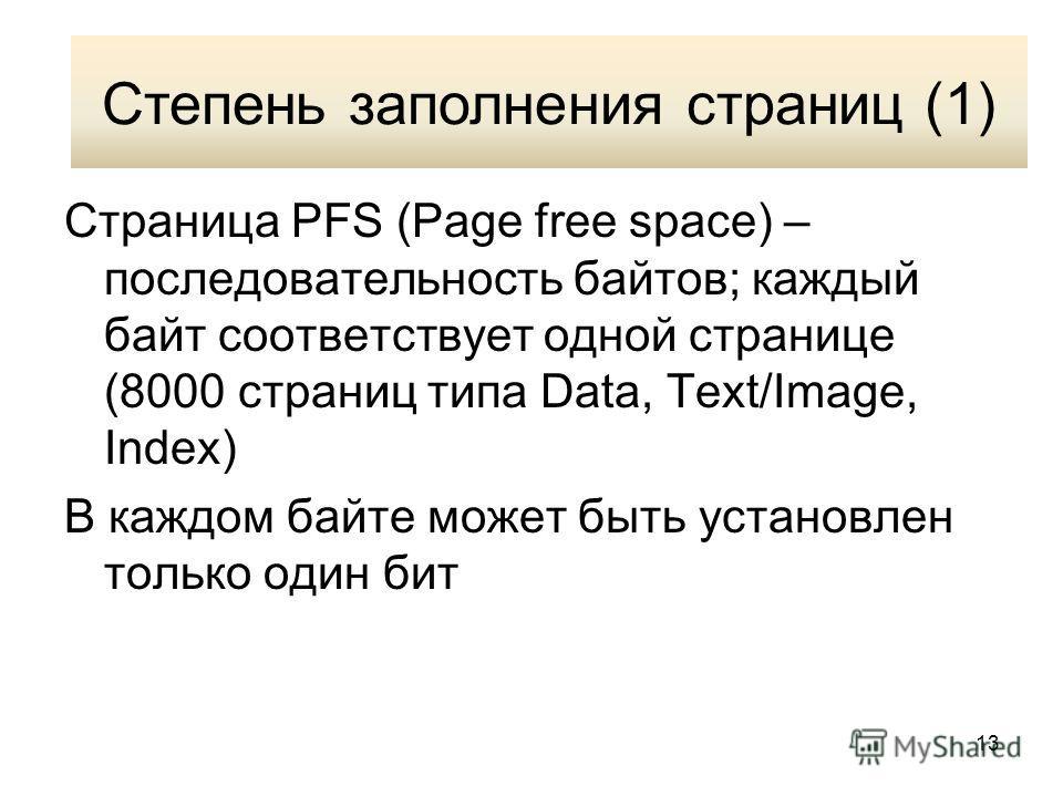 13 Степень заполнения страниц (1) Страница PFS (Page free space) – последовательность байтов; каждый байт соответствует одной странице (8000 страниц типа Data, Text/Image, Index) В каждом байте может быть установлен только один бит Степень заполнения