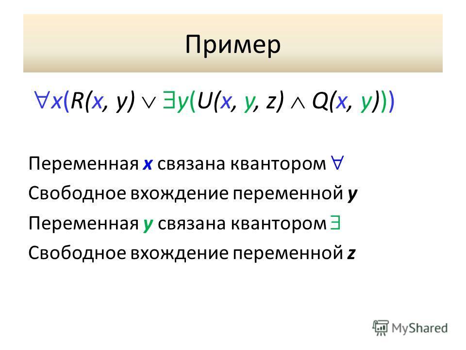 Пример x(R(x, y) y(U(x, y, z) Q(x, y))) Переменная x связана квантором Свободное вхождение переменной y Переменная у связана квантором Свободное вхождение переменной z