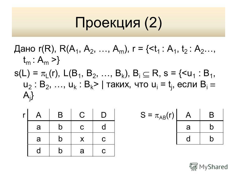 Проекция (2) Дано r(R), R(A 1, A 2, …, A m ), r = { } s(L) = L (r), L(B 1, B 2, …, B k ), B i R, s = { | таких, что u i = t j, если B i A j } rABCD S = AB (r) AB abcdab abxcdb dbac