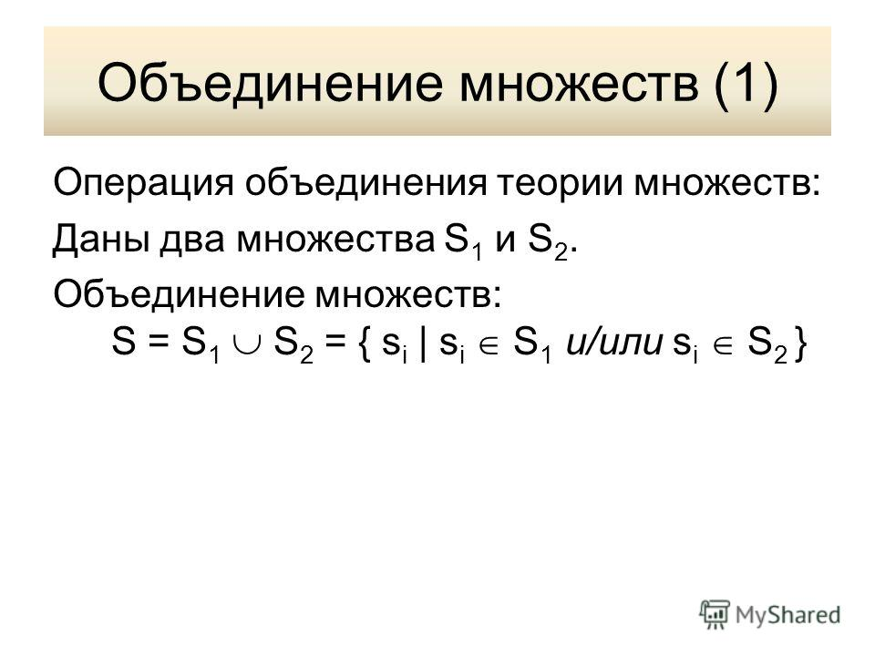 Объединение множеств (1) Операция объединения теории множеств: Даны два множества S 1 и S 2. Объединение множеств: S = S 1 S 2 = { s i | s i S 1 и/или s i S 2 }