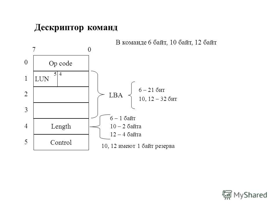 Дескриптор команд Op code 7 0 LUN Length Control 5 4 0 1 2 3 4 5 В команде 6 байт, 10 байт, 12 байт LBA 6 – 21 бит 10, 12 – 32 бит 6 – 1 байт 10 – 2 байта 12 – 4 байта 10, 12 имеют 1 байт резерва
