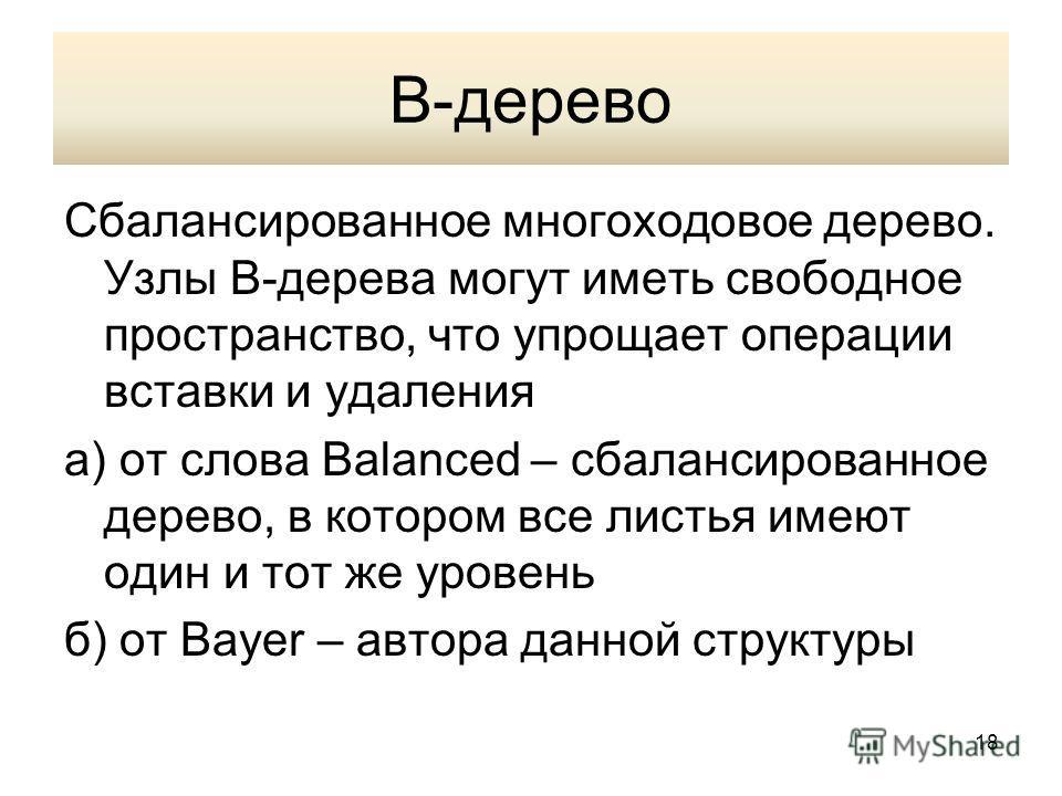 В-дерево Сбалансированное многоходовое дерево. Узлы В-дерева могут иметь свободное пространство, что упрощает операции вставки и удаления а) от слова Balanced – сбалансированное дерево, в котором все листья имеют один и тот же уровень б) от Bayer – а