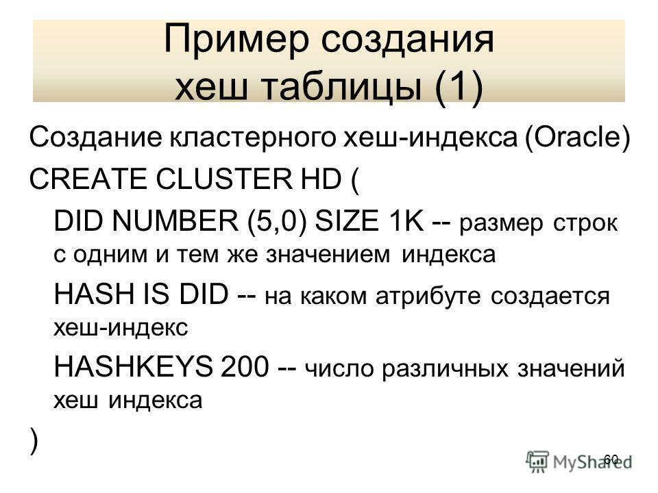 Пример создания хеш таблицы (1) Создание кластерного хеш-индекса (Oracle) CREATE CLUSTER HD ( DID NUMBER (5,0) SIZE 1K -- размер строк с одним и тем же значением индекса HASH IS DID -- на каком атрибуте создается хеш-индекс HASHKEYS 200 -- число разл