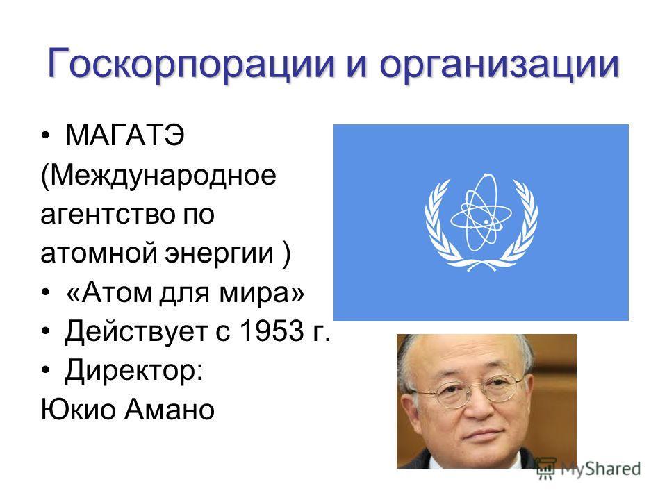 Госкорпорации и организации МАГАТЭ (Международное агентство по атомной энергии ) «Атом для мира» Действует с 1953 г. Директор: Юкио Амано