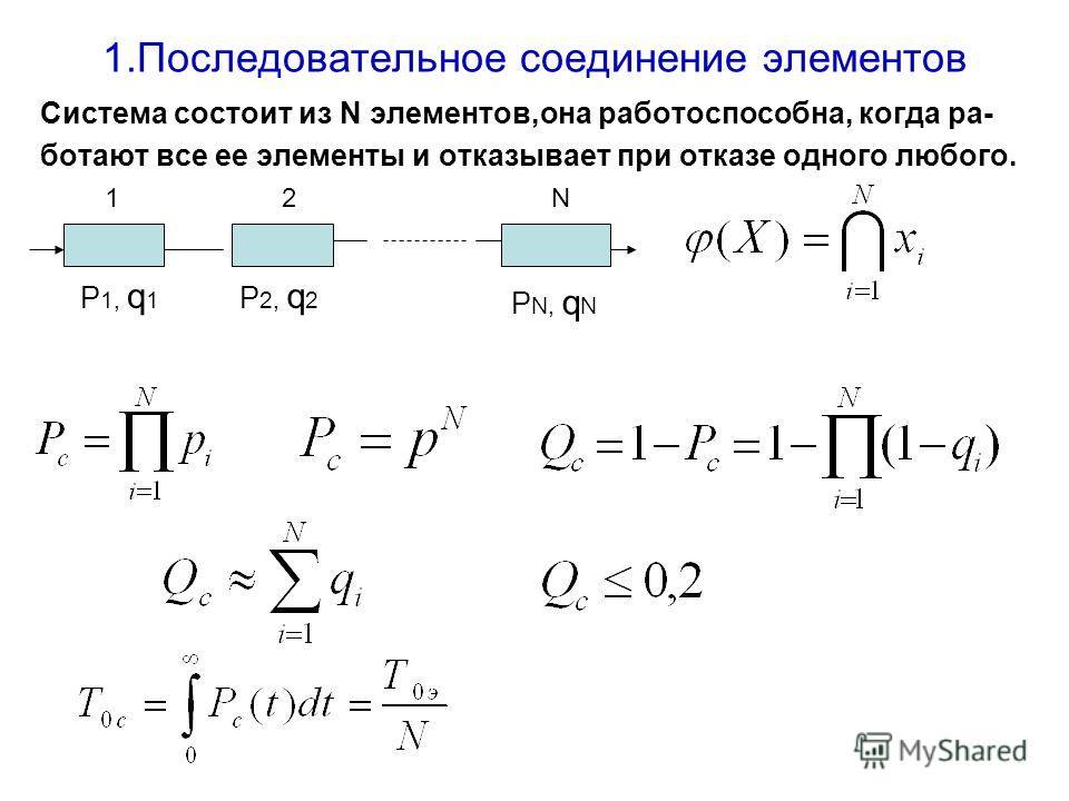 1.Последовательное соединение элементов Система состоит из N элементов,она работоспособна, когда ра- ботают все ее элементы и отказывает при отказе одного любого. 12N Р 1, q 1 Р 2, q 2 Р N, q N
