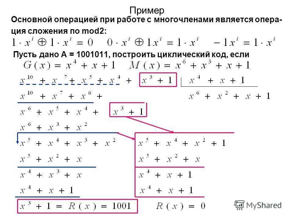 Пример Основной операцией при работе с многочленами является опера- ция сложения по mod2: Пусть дано А = 1001011, построить циклический код, если