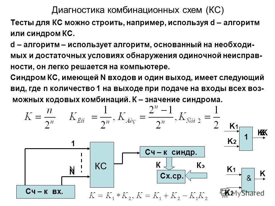 Диагностика комбинационных схем (КС) Тесты для КС можно строить, например, используя d – алгоритм или синдром КС. d – алгоритм – использует алгоритм, основанный на необходи- мых и достаточных условиях обнаружения одиночной неисправ- ности, он легко р