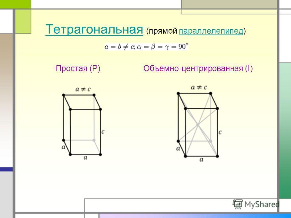 ТетрагональнаяТетрагональная (прямой параллелепипед)параллелепипед Простая (P)Объёмно-центрированная (I)
