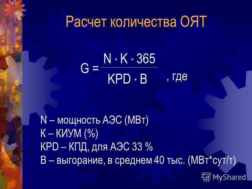 G = N * K * 365 KPD * B N – мощность АЭС (МВт) К – КИУМ (%) КРD – КПД, для АЭС 33 % В – выгорание, в среднем 40 тыс. (МВт*сут/т), где Расчет количества ОЯТ