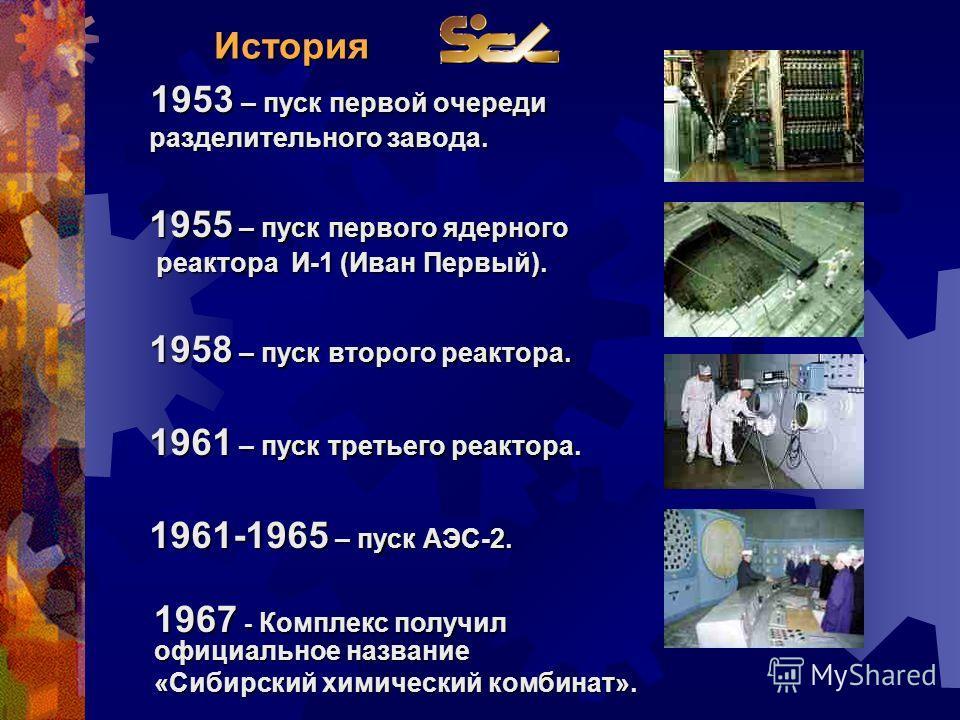 История 1953 – пуск первой очереди 1953 – пуск первой очереди разделительного завода. разделительного завода. 1955 – пуск первого ядерного 1955 – пуск первого ядерного реактора И-1 (Иван Первый). реактора И-1 (Иван Первый). 1958 – пуск второго реакто